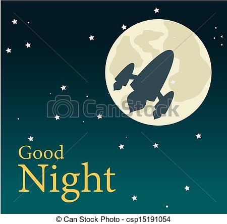 ... good night over sky background vector illustration