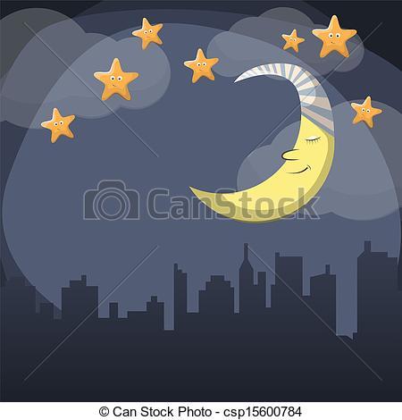 ... Good night - Vector night scene with moon and stars