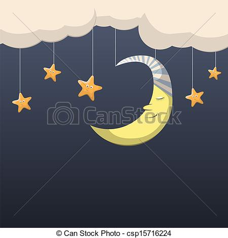 ... Good night - Vector night scene with moon and stars Good night Clip Artby ...