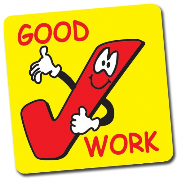 Good Work Tick 16mm Square Stickers Sheet Of 140