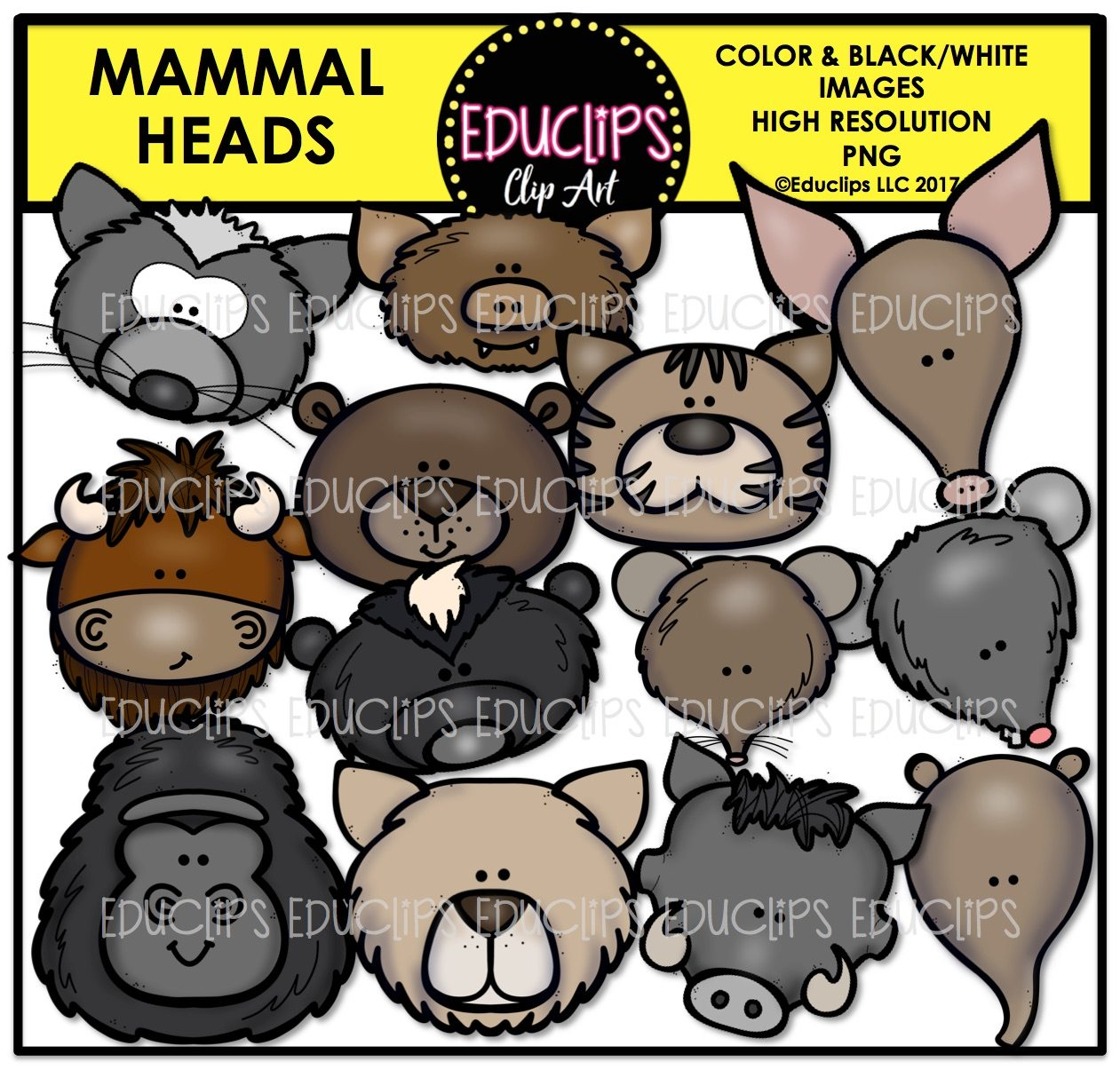 Animal Heads Clip Art Mega Bundle (Color and Bu0026W)