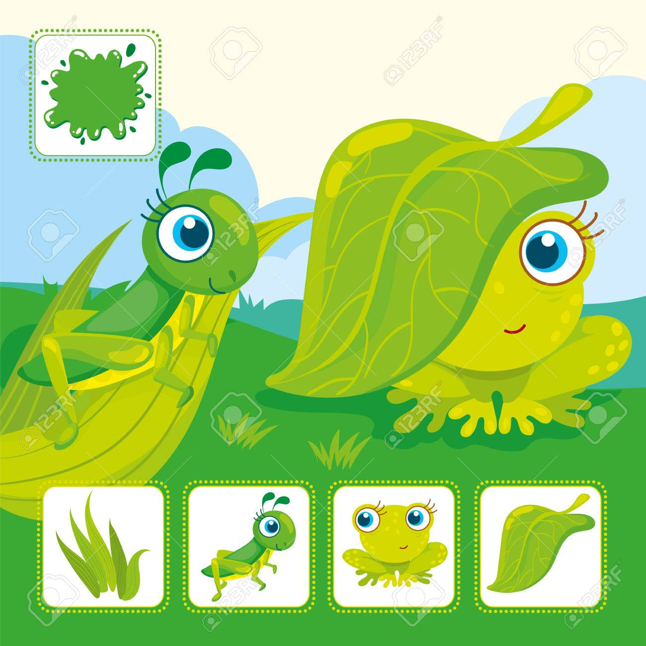 Vector educational cards of green color. Green grasshopper with frog in a  meadow Stock Vector