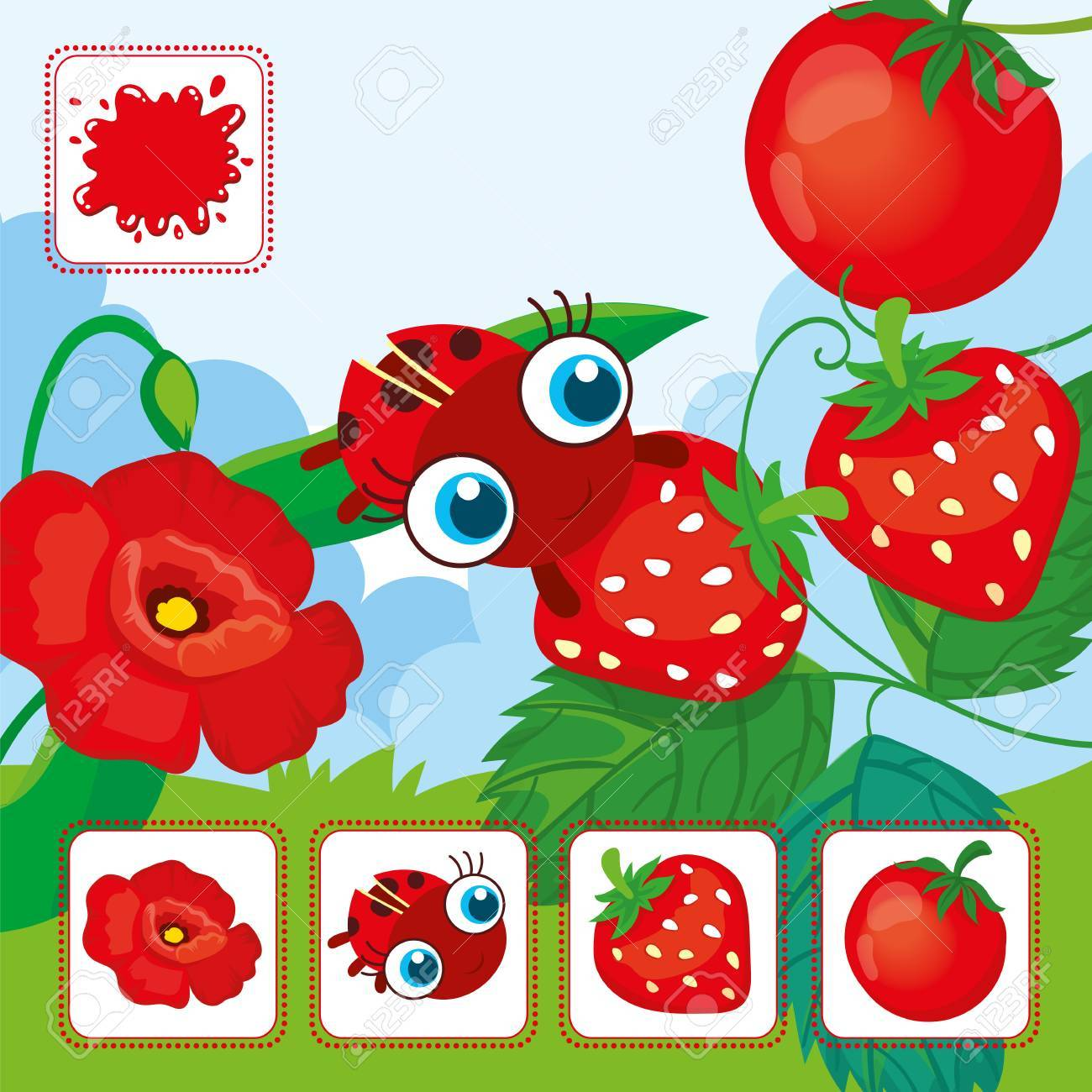 Vector educational cards of red color. Ladybird with red strawberries  Banque du0027images -