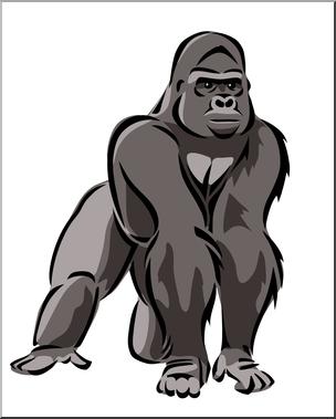 Clip Art: Gorilla 2 Color 1 I abcteach clipartlook.com - preview 1