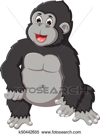Clipart - cute gorilla cartoon posing with laughing. Fotosearch - Search Clip  Art, Illustration