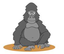 large gorilla sitting clipart. Size: 76 Kb