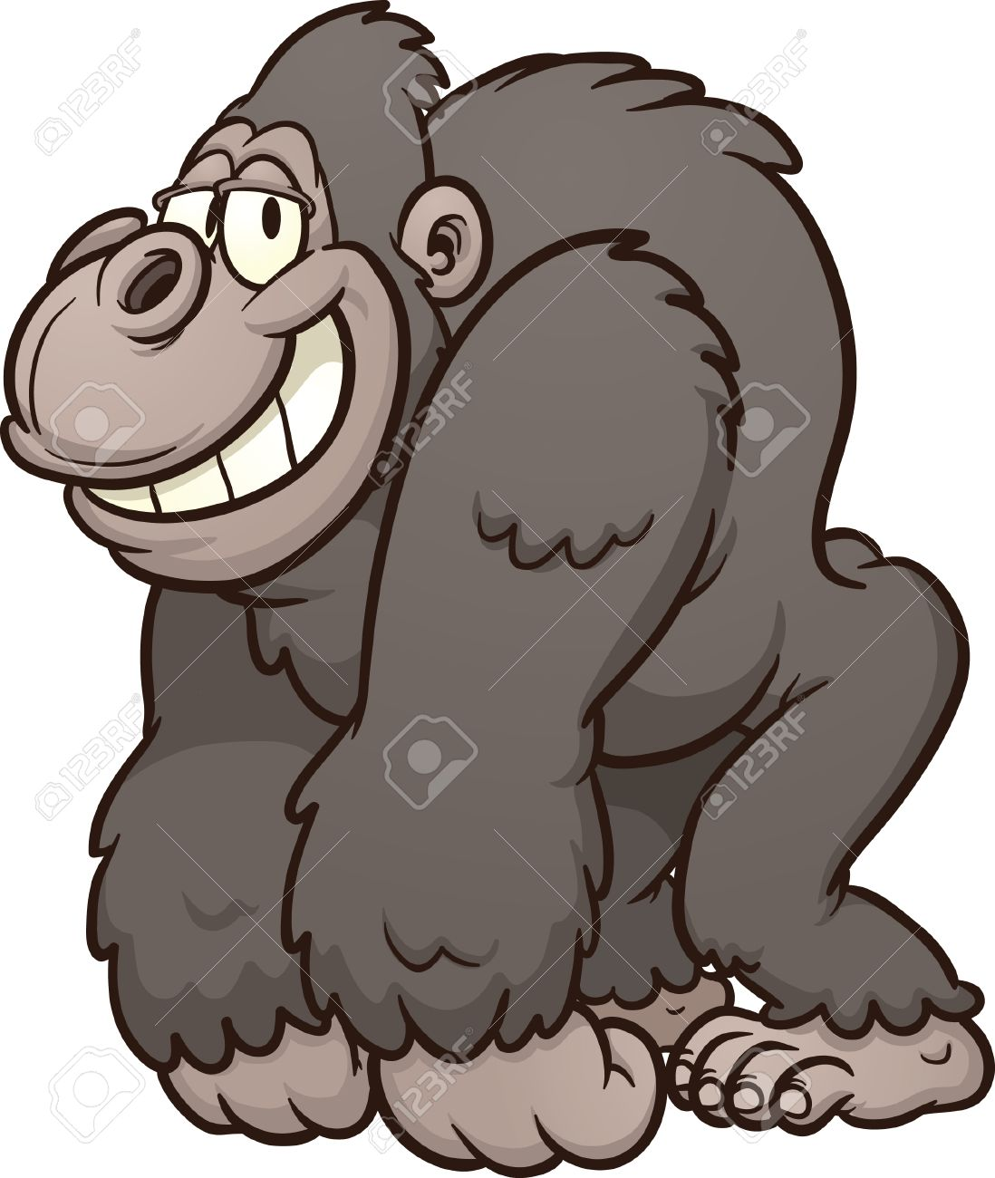 Strong cartoon gorilla Vector clip art illustration with simple gradients  All in a single layer Stock