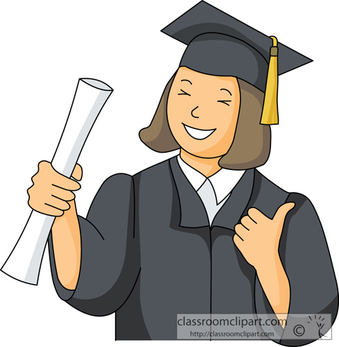 graduate with cap gown holding books. Size: 45 Kb