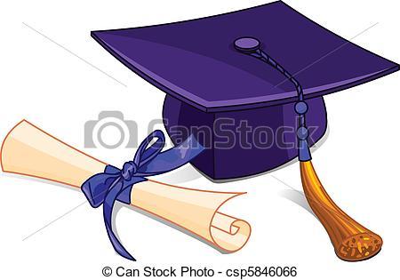 ... Graduation cap and diploma - Illustration of graduation cap.