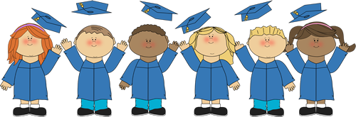Kids Tossing Graduation Caps - Graduation Clipart