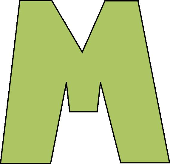 Green Letter M Clip Art Image Large Green Capital Letter M