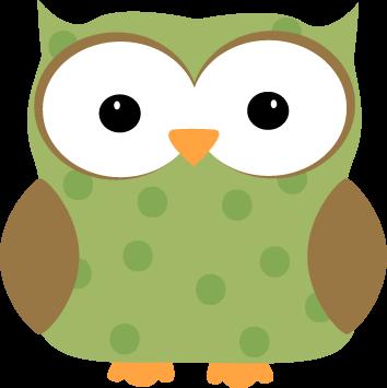 Green Polka Dot Owl Clip Art - Green Polka Dot Owl Image