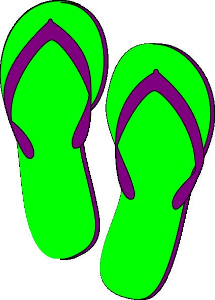Green Purple Flip Flops Clip Art