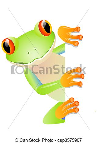 ... Green tree frog and blank space