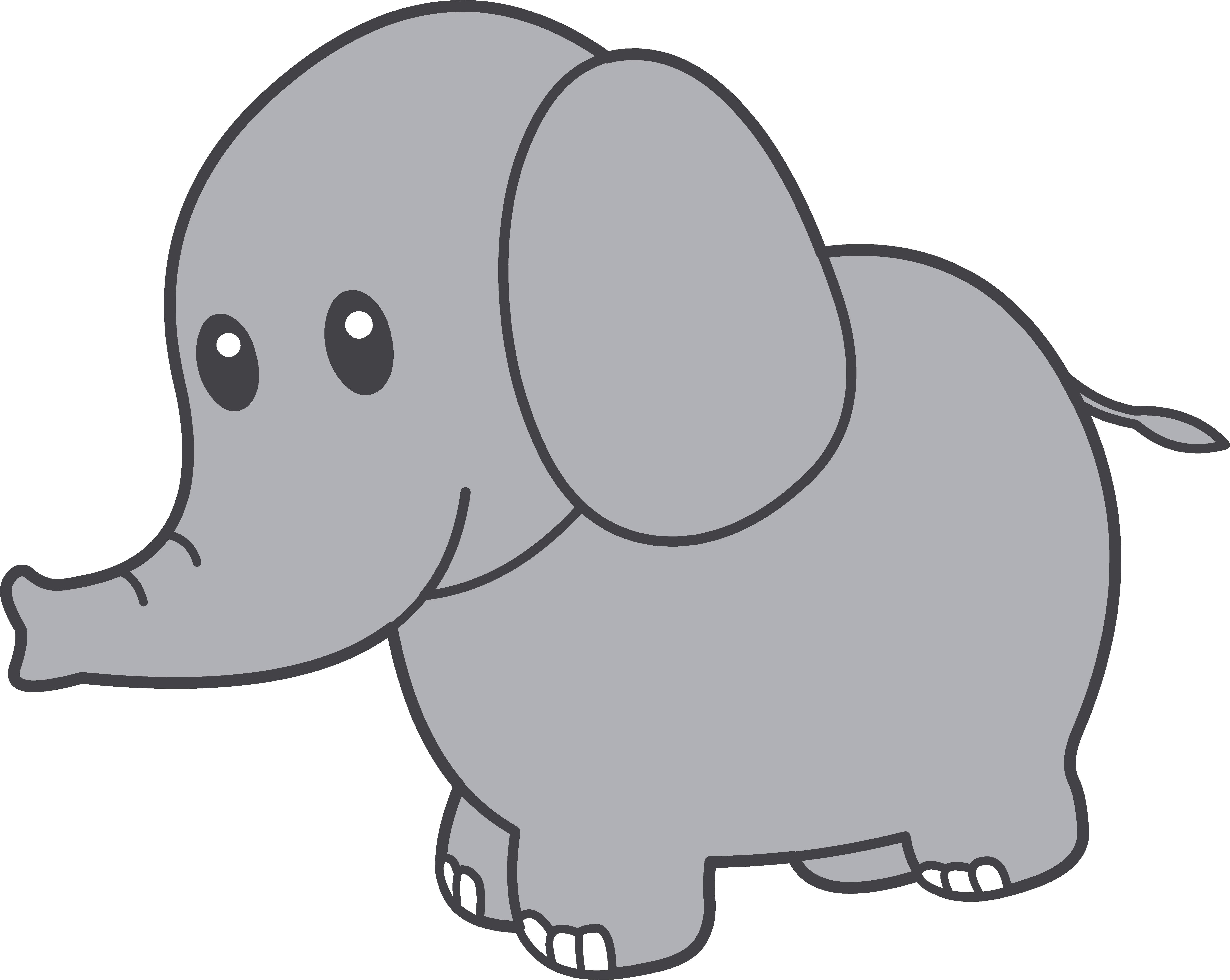Grey Baby Elephant Clipart