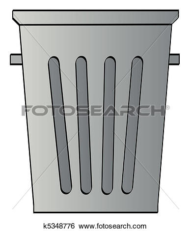 grey garbage can on white background