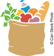 Groceries Stencil - Illustration of Grocery Bag Full of.