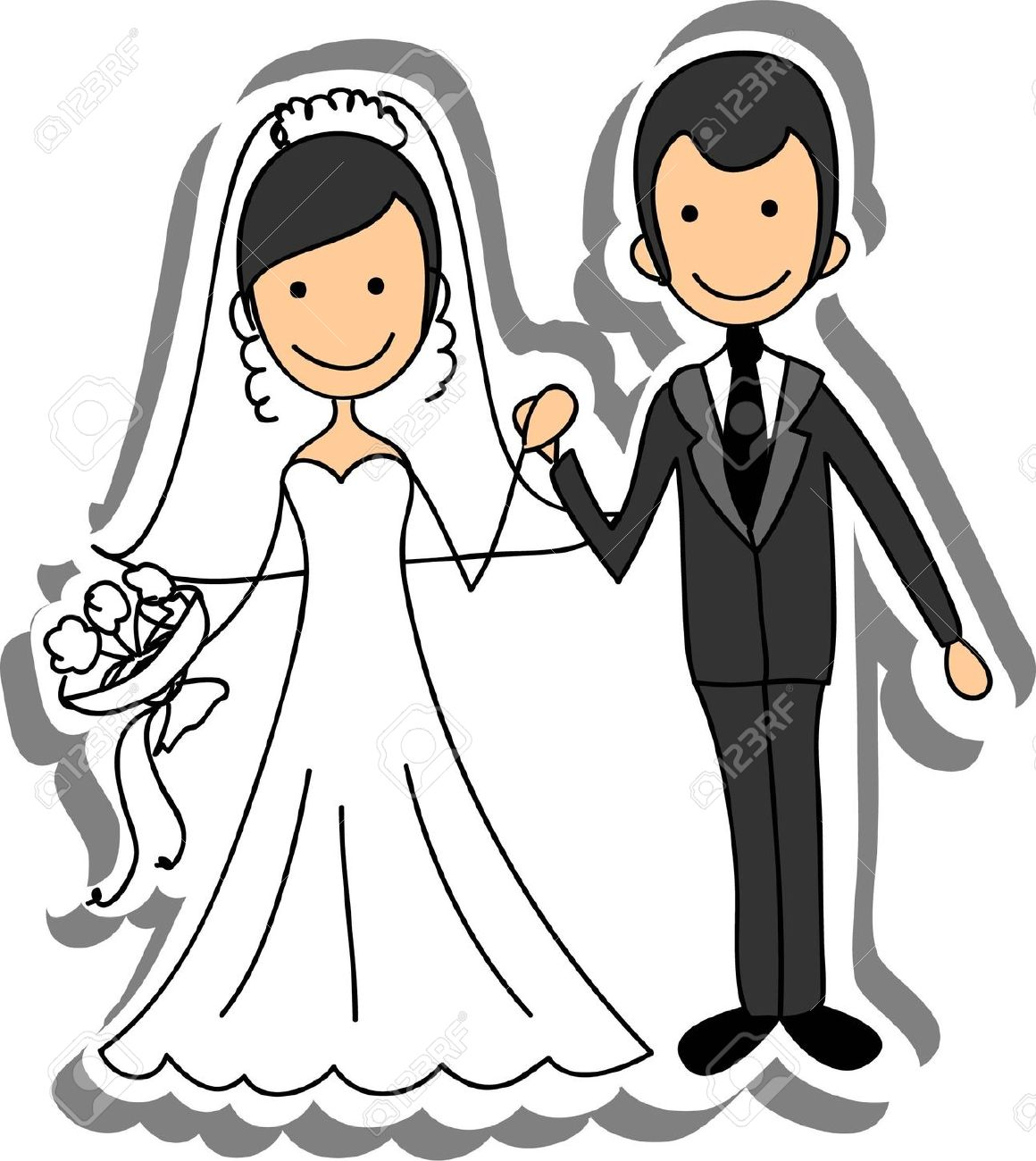 Bride and groom clipart wedding