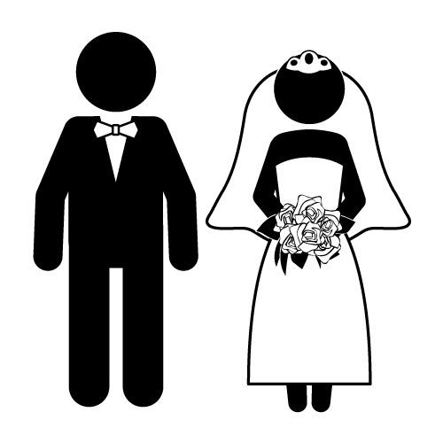 Cartoon funny bride and groom clipart 2