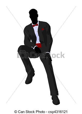 Wedding Groom In A Tuxedo Sil - Groom Clipart