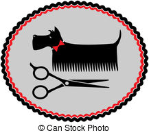 ... grooming scottish terrier with red bow and scissors