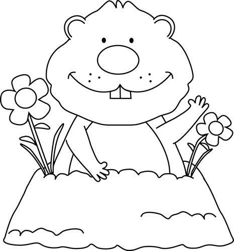 Black and White Spring Ground - Groundhog Clipart