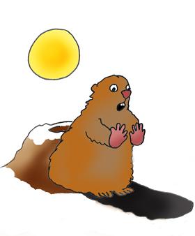 Groundhog cup cake, Groundhog looking at shadow