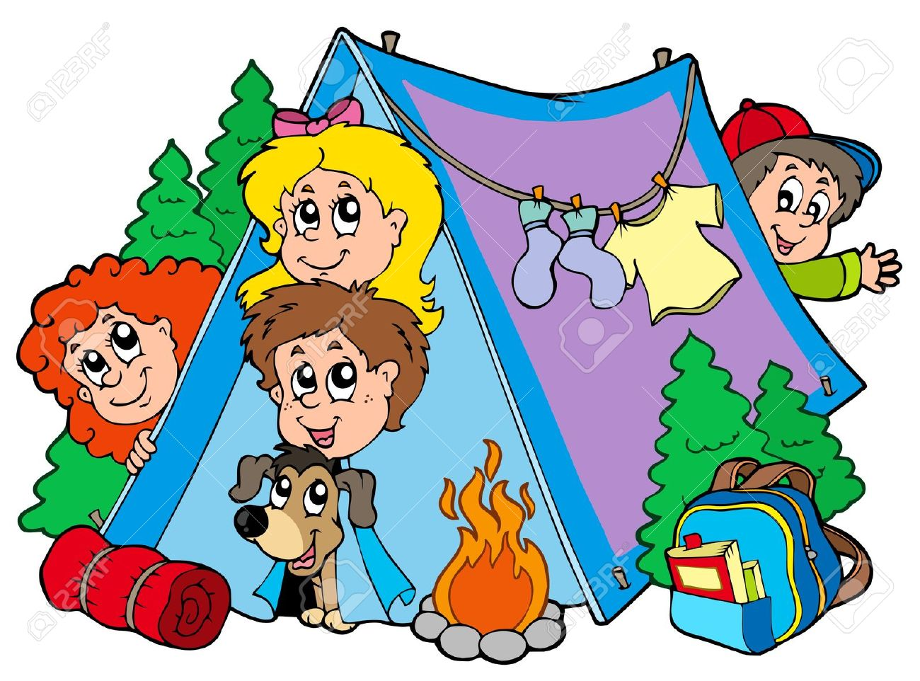 Group of camping kids Stock .