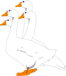 Group Of Digital Geese Clip Art