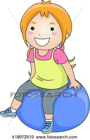 Clip Art - Exercise Ball Girl. Fotosearch - Search Clipart, Illustration  Posters, Drawings