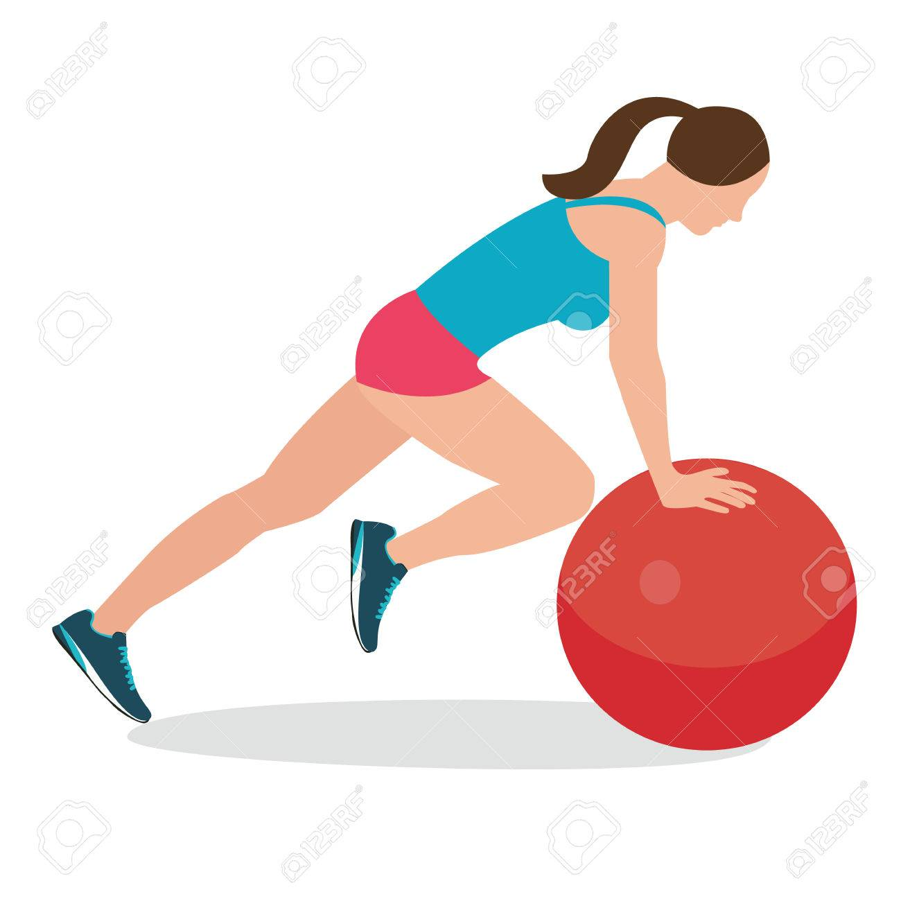 Vector - woman fitness position using stability ball excercise gym training  workput balance female vector