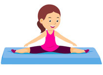 female athlete practicing leg split gymnastics clipart. Size: 56 Kb