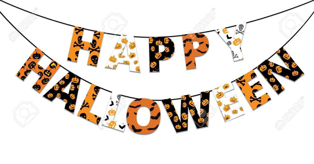 halloween banner: Halloween orange and black banner with greetings Happy Halloween Illustration
