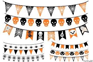 Halloween Bunting, Banner Clipart