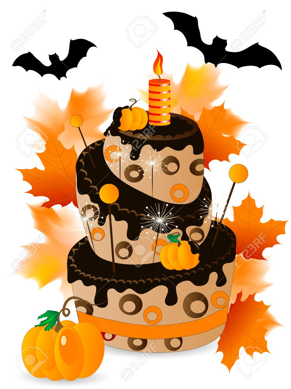 Halloween cake with chocolate, .