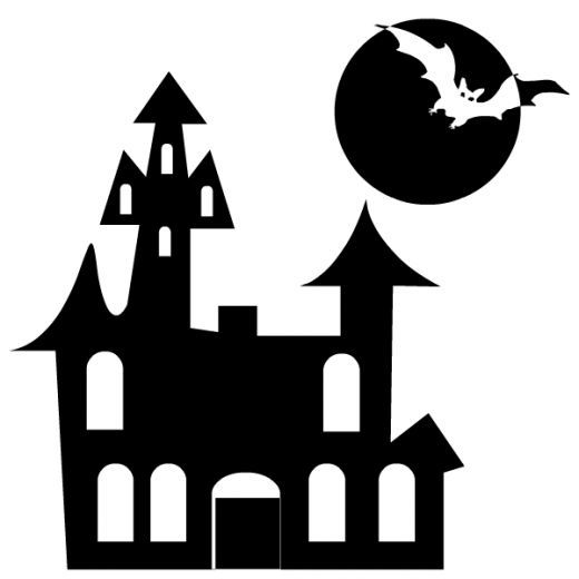 house and bat | Halloween/Dia - Halloween Clipart Black And White