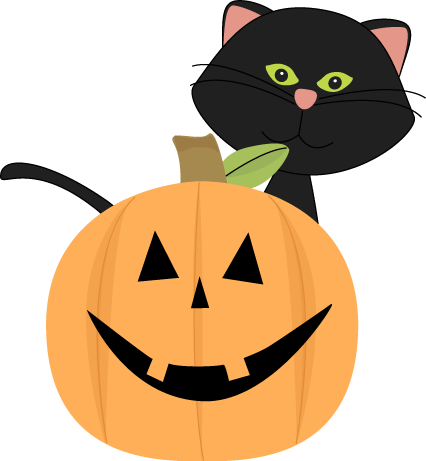 Black Cat Behind Jack-O-Lante - Halloween Clipart