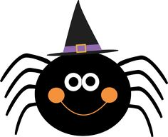 cute halloween clip art - smiling spider with a witch hat on