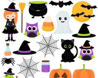 Halloween Clipart Set - Clip Art Set Of Witch, Cat, Halloween Items,  Spiders, Bats - Personal Use, Small Commercial Use, Instant Halloween Clipart