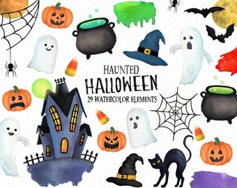 Halloween clipart - Spooky clipart - haunted - watercolor halloween -  pumpkin clipart- jack-o-lantern - ghosts - witch - instant Halloween Clipart