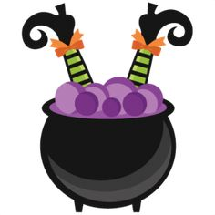 Witch in Cauldron: Miss Kate Cuttables Halloween Artwork, Halloween Clipart,  Halloween Cards,