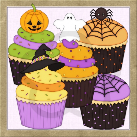 Halloween Cupcakes 2 Clip Art Graphics by Resale Clipart