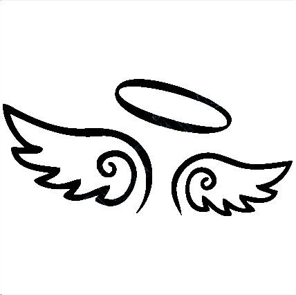 Angel Wings Decal with Halo, angels decals, angels stickers, vinyl .