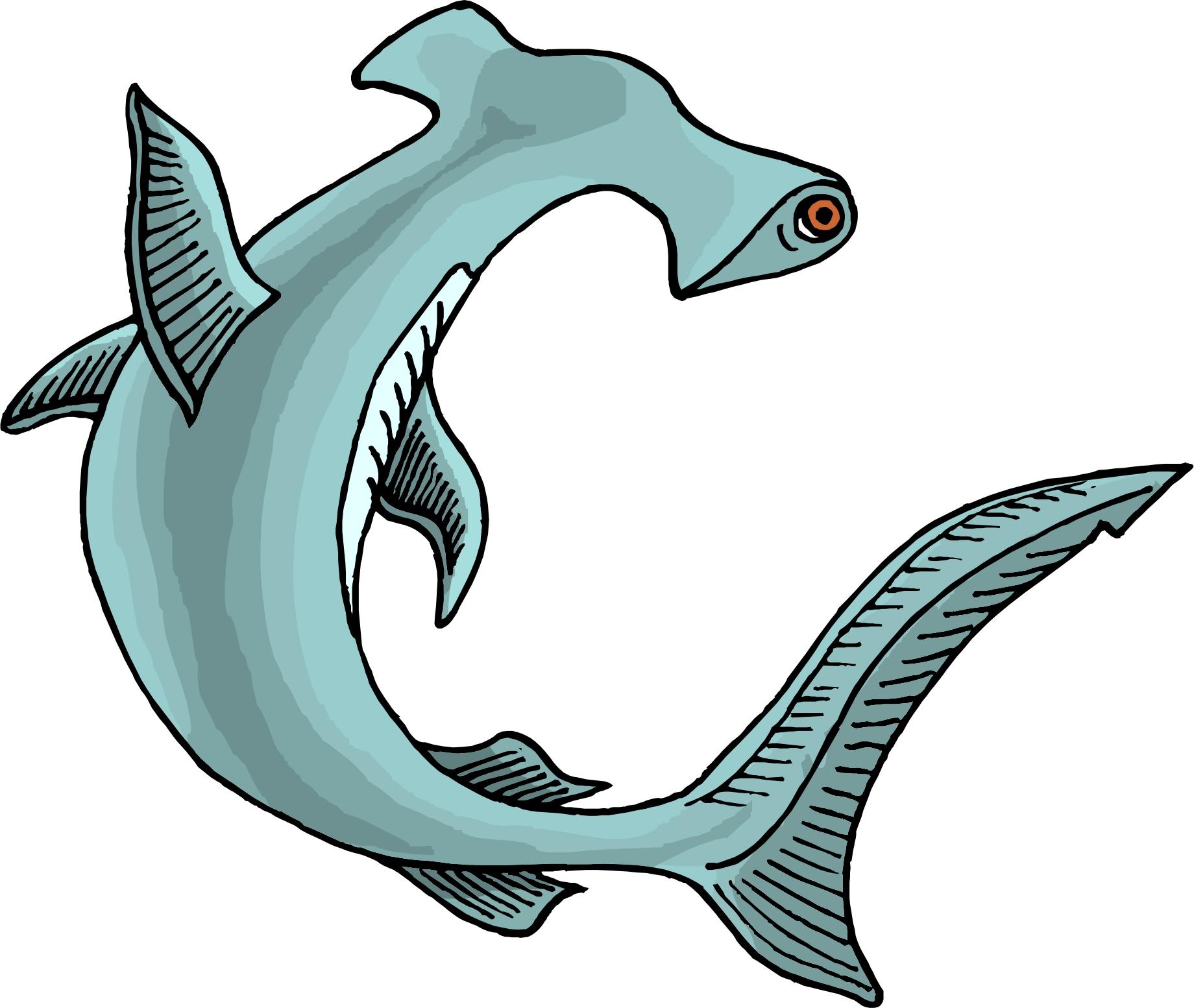 hammerhead shark clipart black and white