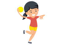 Girl with handball preparing to throw ball clipart. Size: 44 Kb