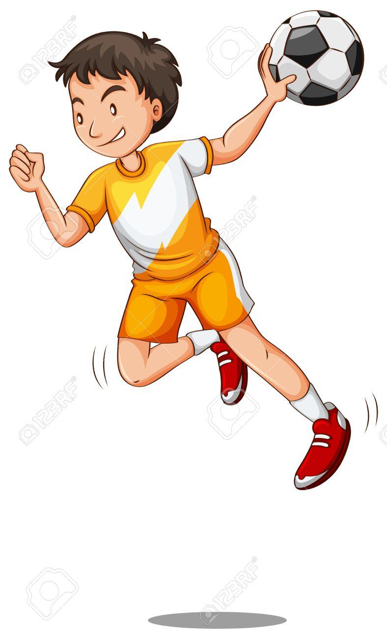 Man with ball playing handball illustration Stock Vector - 58404641