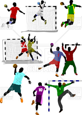 Silhouettes of handball players in action, 55417, download royalty-free  vector vector image ClipartLook.com