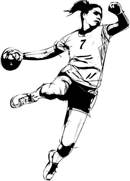 woman handball player vector art illustration