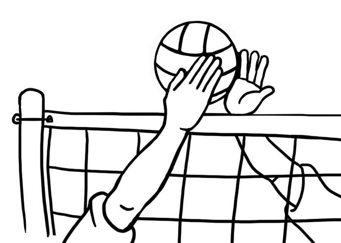hands blocking at volleyball net in black and white