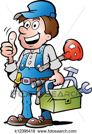 Clip Art - Plumber Handyman, giving thumb up . Fotosearch - Search Clipart,  Illustration